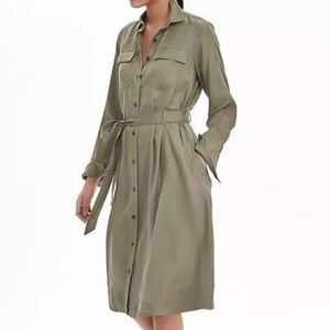 NWOT Banana Republic Olive Green Shirt Dress